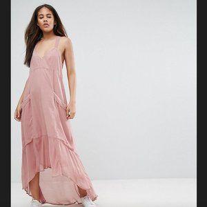 NWOT ASOS PETITE Casual Parachute Maxi Dress Pink
